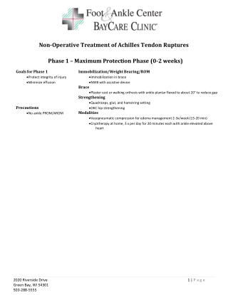 Non-Operative Treatment of Achilles Tendon Ruptures Phase 1