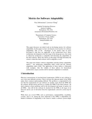 Metrics for Software Adaptability
