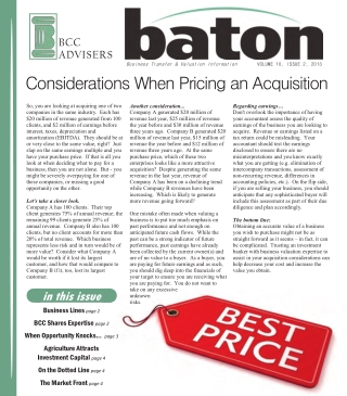 Considerations When Pricing an Acquisition