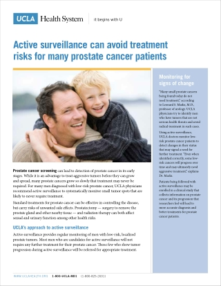 Active surveillance can avoid treatment risks for many prostate cancer patients
