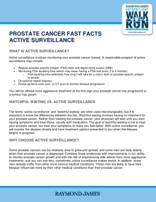 PROSTATE CANCER FAST FACTS ACTIVE SURVEILLANCE