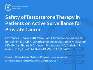 Safety of Testosterone Therapy in Patients on Active Surveillance for Prostate Cancer