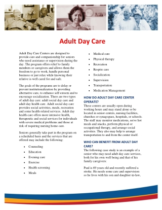 Adult Day Care