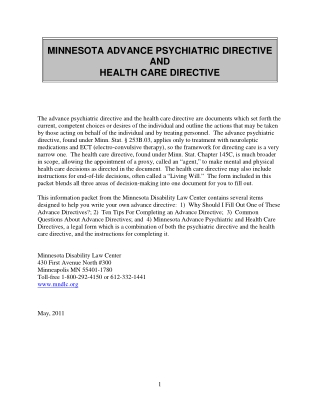 MINNESOTA ADVANCE PSYCHIATRIC DIRECTIVE AND HEALTH CARE DIRECTIVE