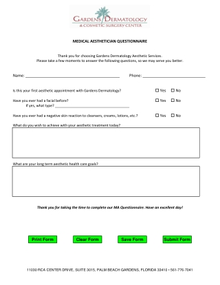 MEDICAL AESTHETICIAN QUESTIONNAIRE