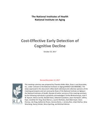 Cost-Effective Early Detection Cognitive Decline of