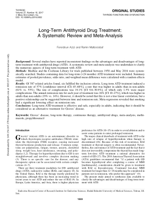 Long-Term Antithyroid Drug Treatment:A Systematic Review and Meta-Analysis