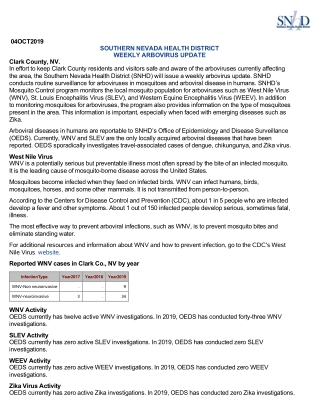 04OCT2019 SOUTHERN NEVADA HEALTH DISTRICT WEEKLY ARBOVIRUS UPDATE Clark County, NV.