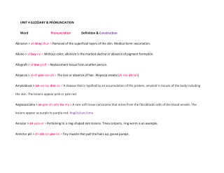 UNIT 4 GLOSSARY & PRONUNCIATION Word Pronunciation Definition & Construction