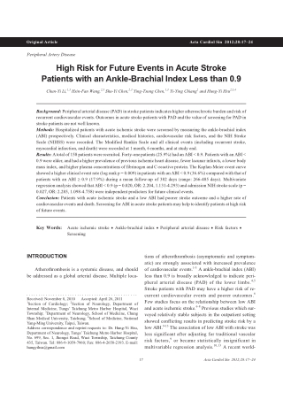 High Risk for Future Events in Acute Stroke Patients with an Ankle-Brachial Index Less than 0.9