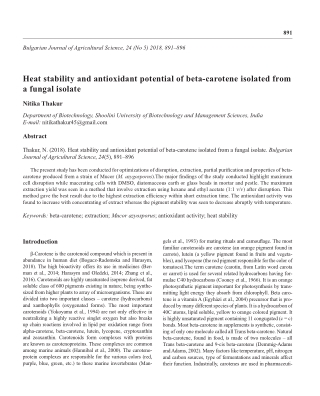 Heat stability and antioxidant potential of beta-carotene isolated from a fungal isolate