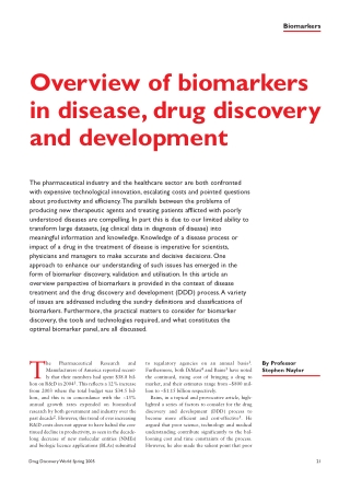 Overview of biomarkers in disease, drug discovery and development
