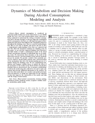Dynamics of Metabolism and Decision MakingDuring Alcohol Consumption:Modeling and Analysis