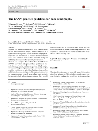 The EANM practice guidelines for bone scintigraphy
