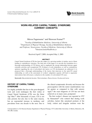 ORIGINAL ARTICLES ORIGINAL ARTICLES WORK-RELATED CARPAL TUNNEL SYNDROME: CURRENT CONCEPTS