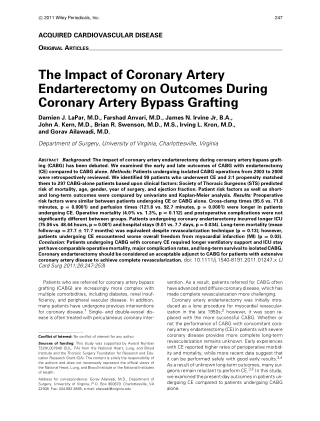 The Impact of Coronary Artery Endarterectomy on Outcomes During Coronary Artery Bypass Grafting
