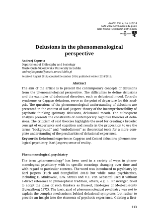 Delusions in the phenomenological perspective