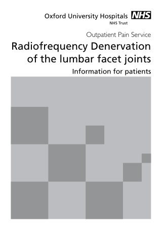 Radiofrequency Denervation of the lumbar facet joints