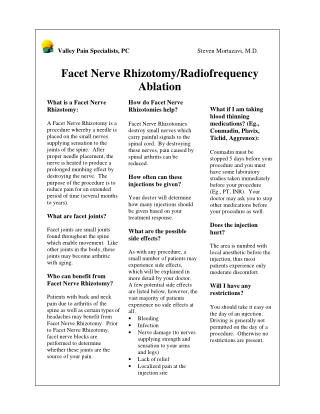 Facet Nerve Rhizotomy/Radiofrequency Ablation