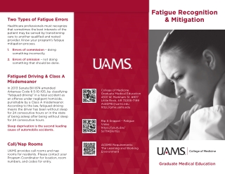 Fatigue Recognition & Mitigation