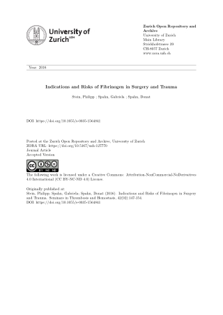 Indications and Risks of Fibrinogen in Surgery and Trauma