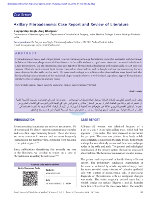 Axillary Fibroadenoma: Case Report and Review of Literature