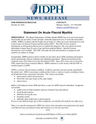 Statement On Acute Flaccid Myelitis