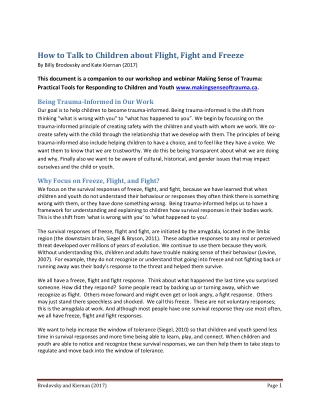 How to Talk to Children about Flight, Fight and Freeze