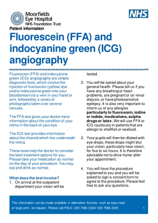 Fluorescein (FFA) and indocyanine green (ICG) angiography