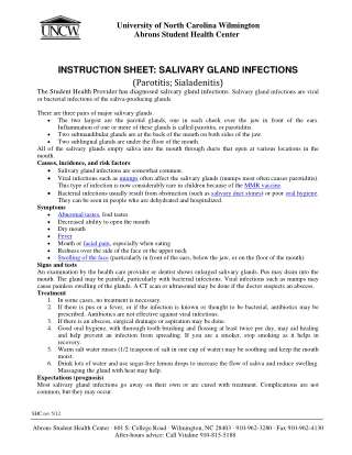 INSTRUCTION SHEET: SALIVARY GLAND INFECTIONS