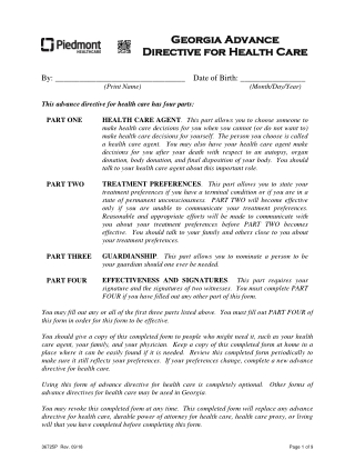 Georgia Advance Georgia Advance Directive for Health Care Directive for Health Care