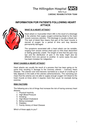 INFORMATION FOR PATIENTS FOLLOWING HEART ATTACK