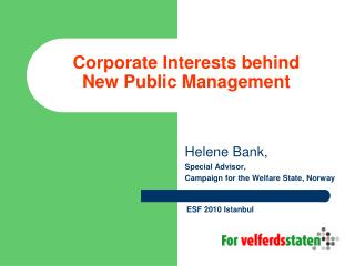 Corporate Interests behind New Public Management