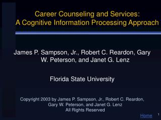 Profession Counseling and Services: A Cognitive Information Processing Approach