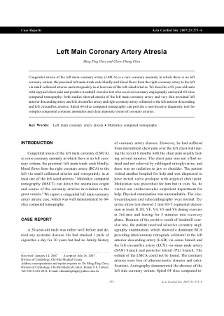 Left Main Coronary Artery Atresia
