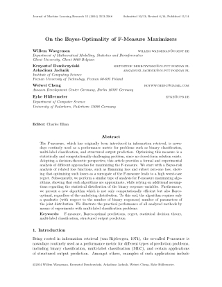 On the Bayes-Optimality of F-Measure Maximizers