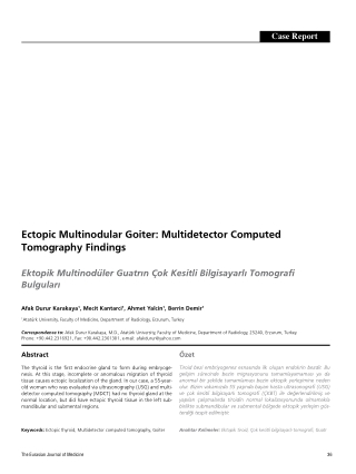 Ectopic Multinodular Goiter: Multidetector Computed Tomography Findings
