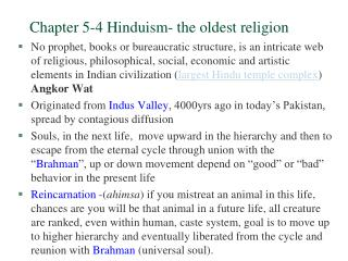Section 5-4 Hinduism-the most established religion