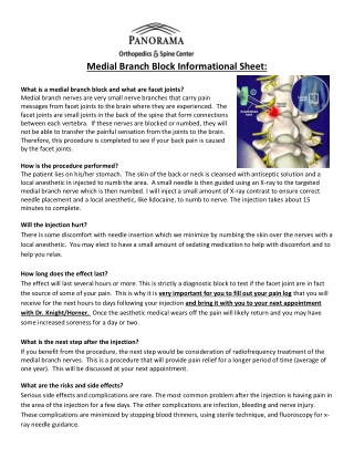 Medial Branch Block Informational Sheet: