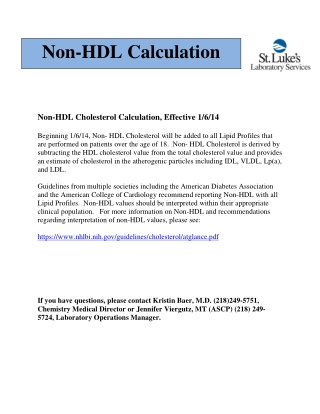 Non-HDL Calculation