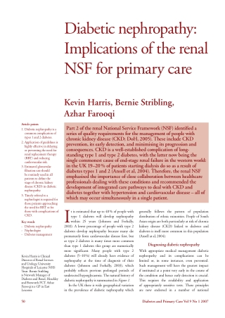 Diabetic nephropathy: Implications of the renal NSF for primary care