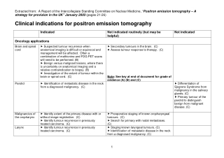 Clinical indications for positron emission tomography