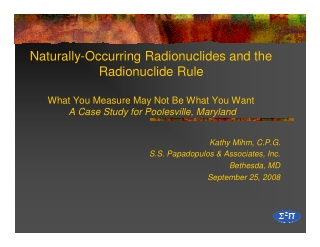 Naturally-Occurring Radionuclides and the Radionuclide Rule