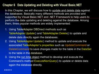 Part 6 Data Updating and Deleting with Visual Basic