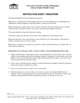 INSTRUCTION SHEET: RINGWORM