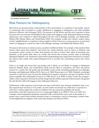 Risk Factors for Delinquency