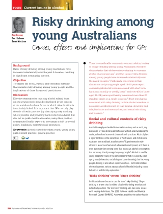 Risky drinking among young Australians