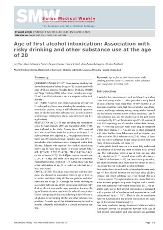 Age of first alcohol intoxication: Association with risky drinking and other substance use at the age of 20