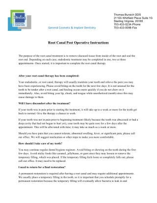 Root Canal Post Operative Instructions