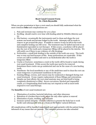 Root Canal Consent Form Dr. Chris Reynolds